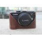Genuine Cow Leather Protective Bottom Case Cover Bag for Panasonic GX1